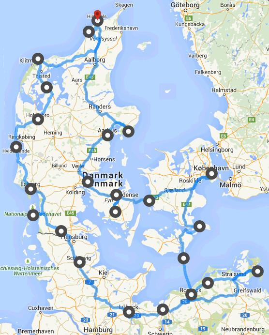 kart over danmark og tyskland Bobil ferie til Danmark og Tyskland 2015 kart over danmark og tyskland